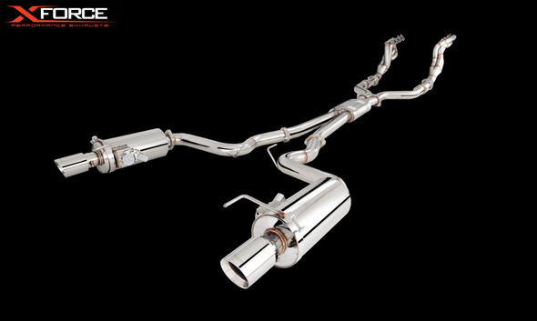 "X-Force NON POLISHED STAINLESS 1""7/8 HEADER AND 3"" METALLIC CATS AND TWIN 3"" CAT-BACK WITH VAREX MUFFLERS"