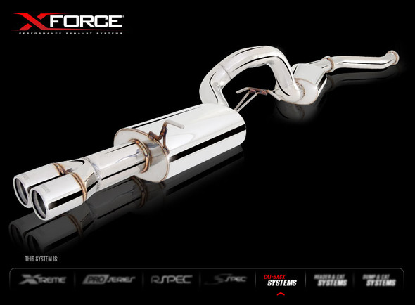 """X-FORCE NON-POLISHED STAINLESS STEEL CAT-BACK EXHAUST SYSTEM 3-1/2"""" CONNECTING PIPE FROM CAT TO 4"""" CENTRE & REAR MUFFLERS(FITS OE CAT ONLY)"""