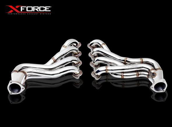 """X-Force POLISHED STAINLESS STEEL 4-1 1-7/8"""" PRIM 3"""" OUTLET HEADER WITH 3"""" METALLIC CAT CONVERTER"""