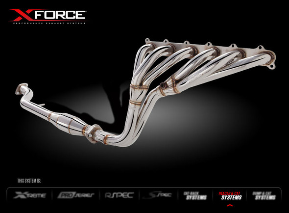 X-FORCE POLISHED STAINLESS STEEL HEADER & METALLIC CAT