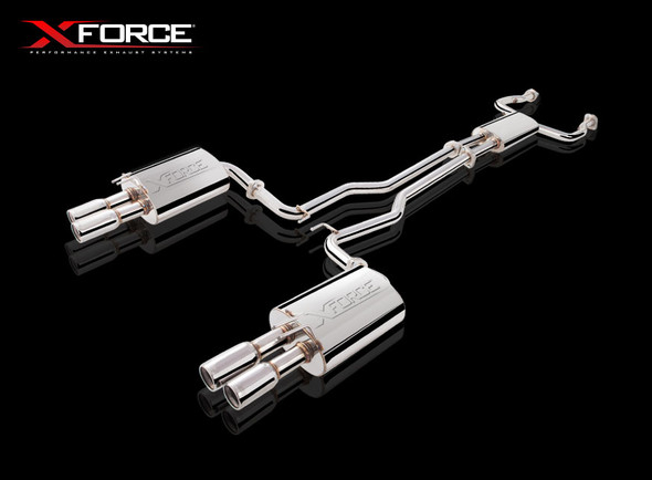 "X-Force STAINLESS STEEL CAT-BACK SYSTEM WITH TWIN 3"" PIPING AND VAREX REAR MUFFLERS"