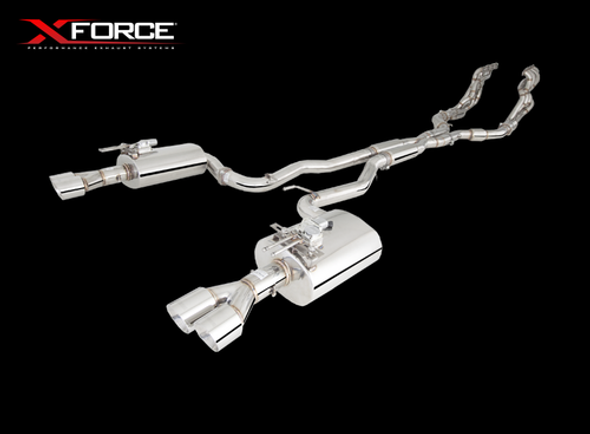 "X-Force STAINLESS STEEL ENGINE-BACK SYSTEM WITH TWIN 3"" PIPING AND VAREX REAR MUFFLERS"