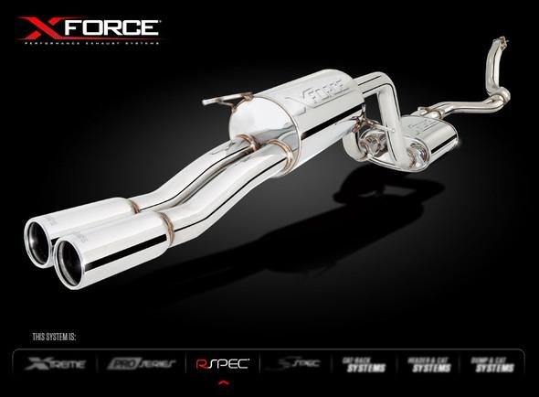 "X-FORCE TURBO BACK 4"" DUMP METALLIC CAT DUAL 2-1/2"" SYSTEM"
