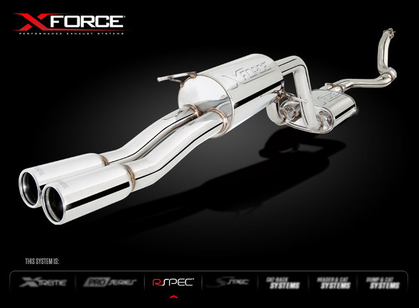"X-FORCE TURBO BACK 4"" DUMP/CAT 4"" SINGLE SYSTEM"