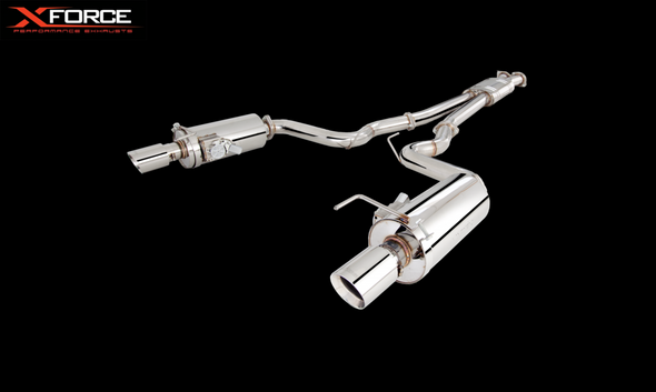 "X-Force TWIN 3"" CAT-BACK SYSTEM AND VAREX REAR MUFFLERS NON-POLISHED STAINLESS STEEL"