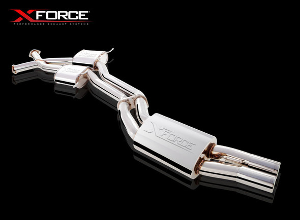 """X-Force TWIN 3"""" STAINLESS STEEL CAT-BACK WITH VAREX REAR MUFFLER"""