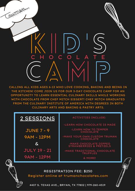 Kid's Chocolate Camp-June 2021 Registration