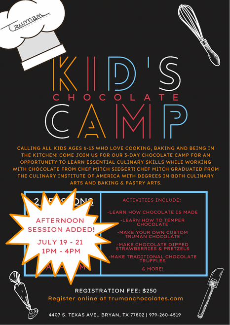 (Afternoon Session) Kid's Chocolate Camp-July 2021 Registration