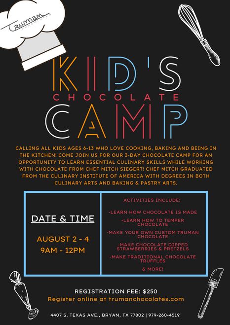 Kid's Chocolate Camp - August 2021 Registration