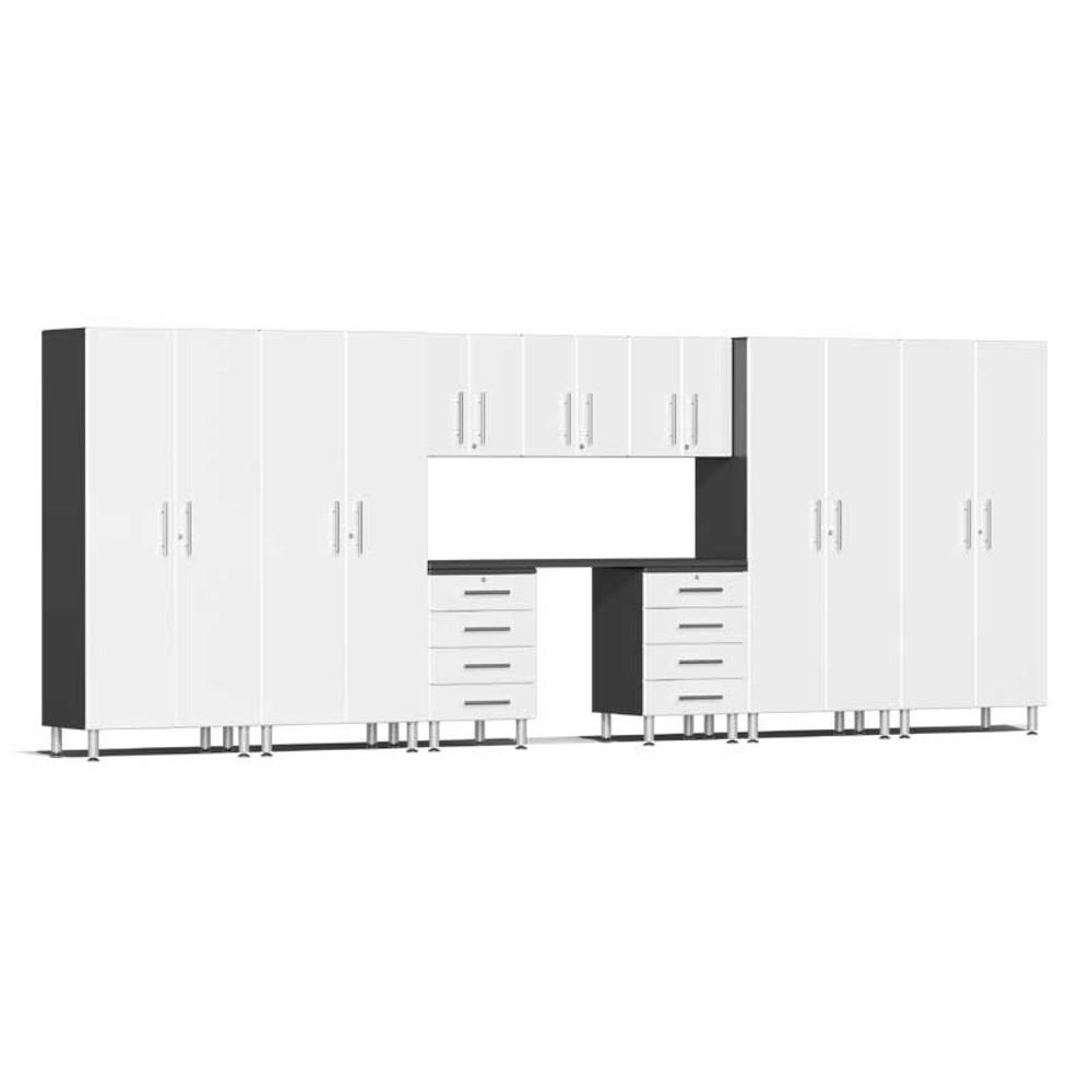 Ulti-MATE Garage 2.0 Series White Metallic 10-Piece Kit with Recessed Worktop