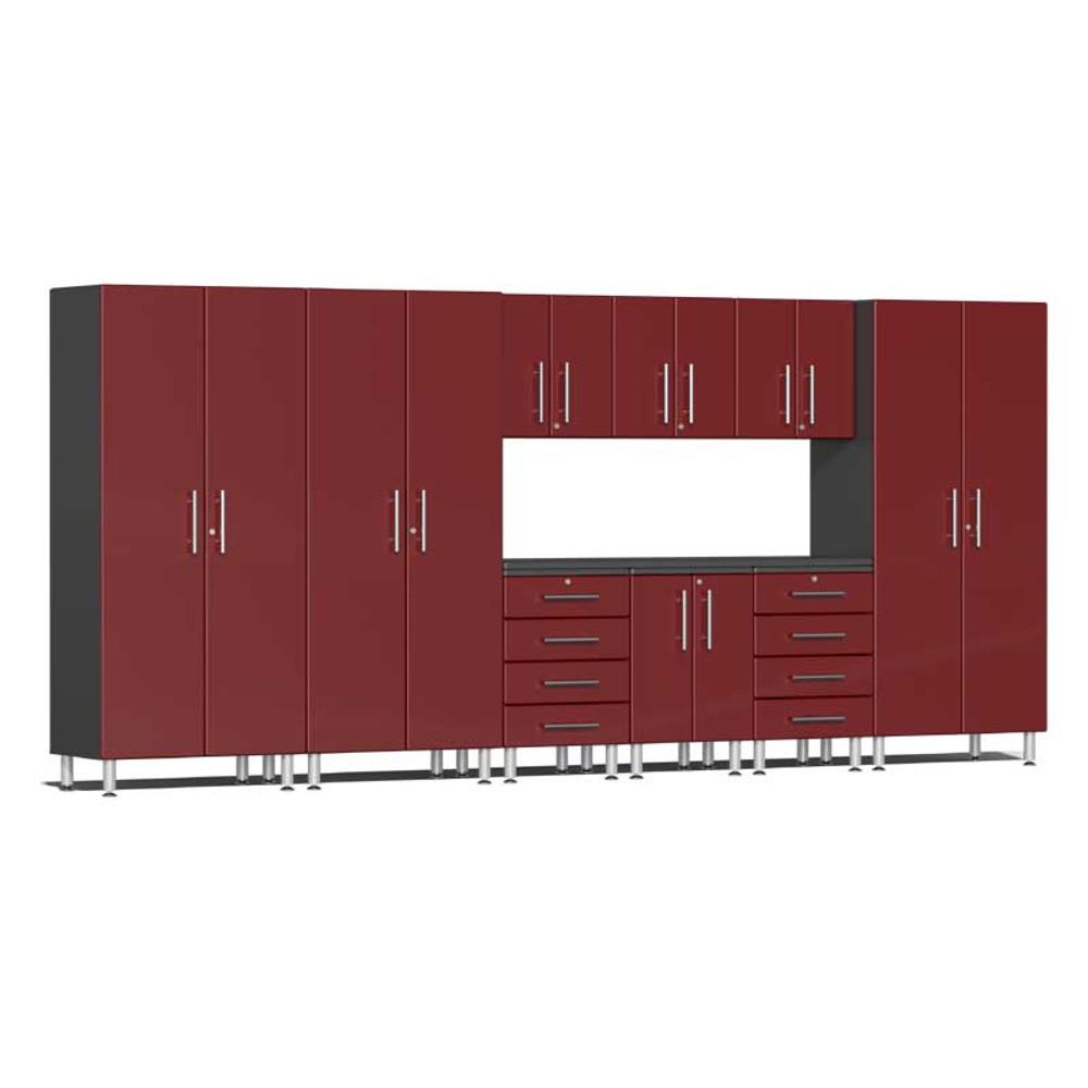 Ulti-MATE Garage 2.0 Series Red Metallic 10-PC Kit with Recessed Worktop