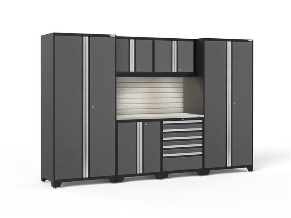 NewAge Pro 3.0 Grey 7 Piece Set w/Stainless Steel Worktop, LED Lights & Backsplash