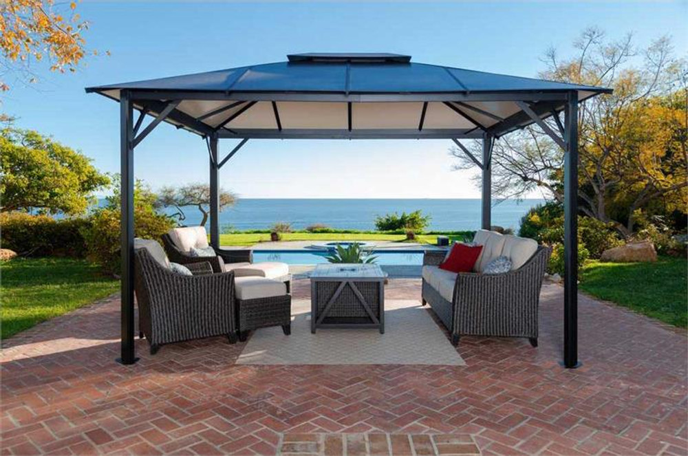 Paragon Outdoor Durham 10x12 Hard Top Gazebo with Mosquito Netting