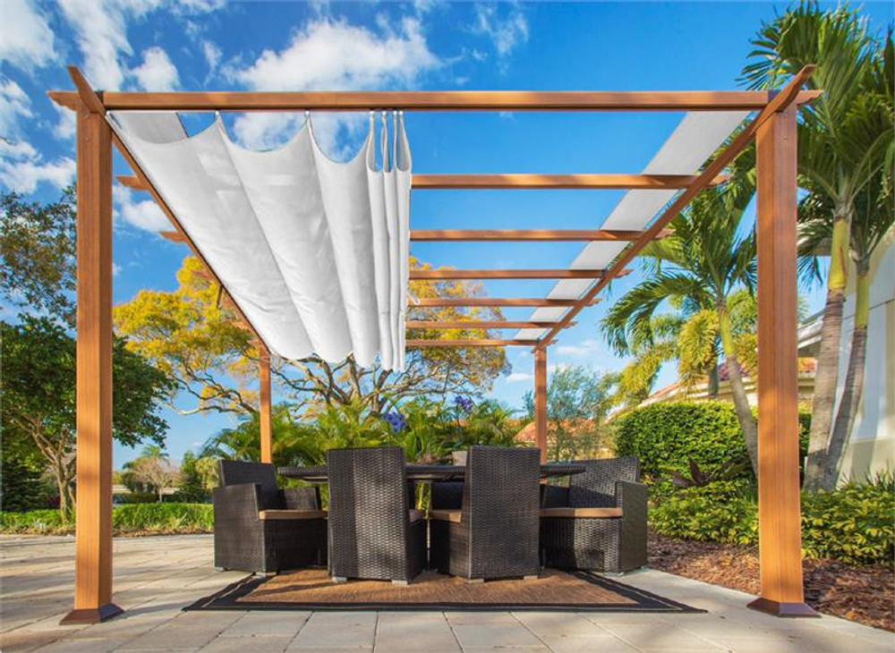 Paragon Outdoor Florence 11x11 Aluminum Pergola with Cedar Wood Grain Finish/White Color Convertible Canopy
