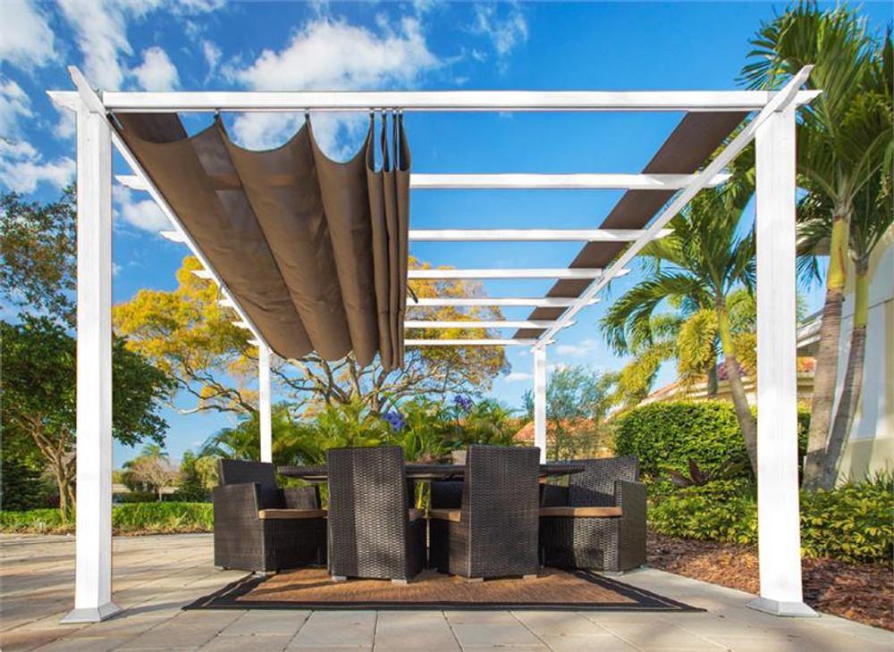 Paragon Outdoor Florence 11x11 White Aluminum Pergola/Cocoa Color Convertible Canopy