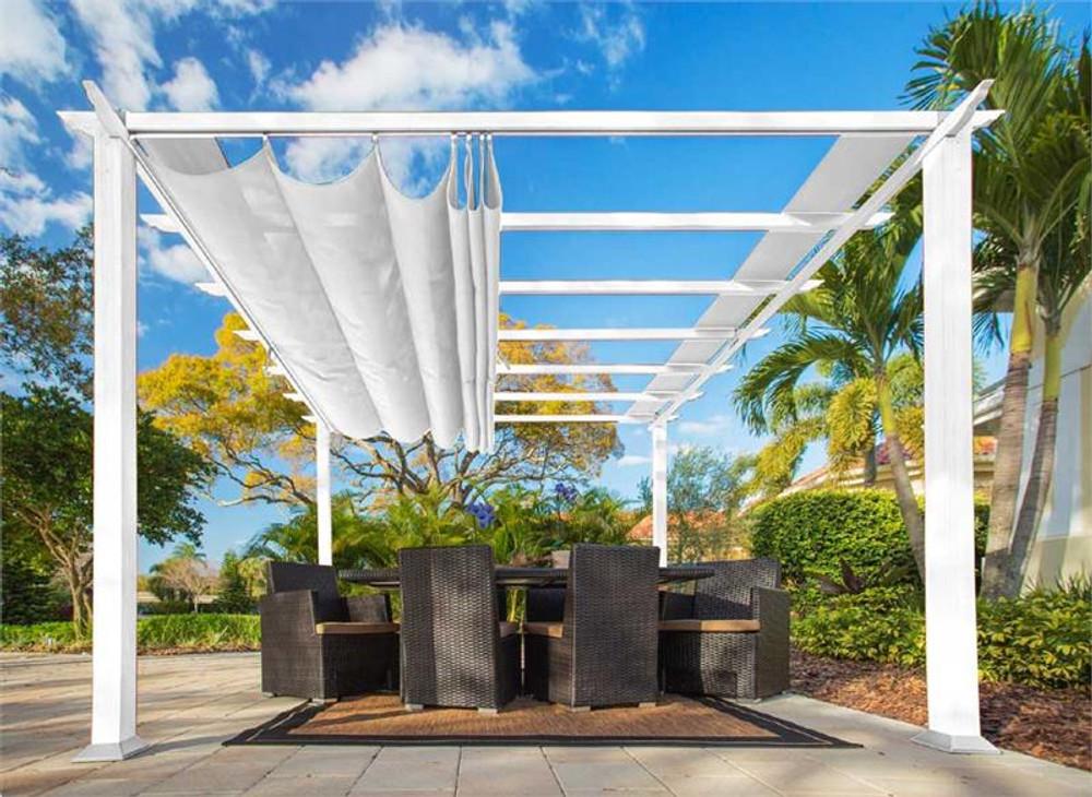 Paragon Outdoor Florence 11x11 White Aluminum Pergola/White Color Convertible Canopy