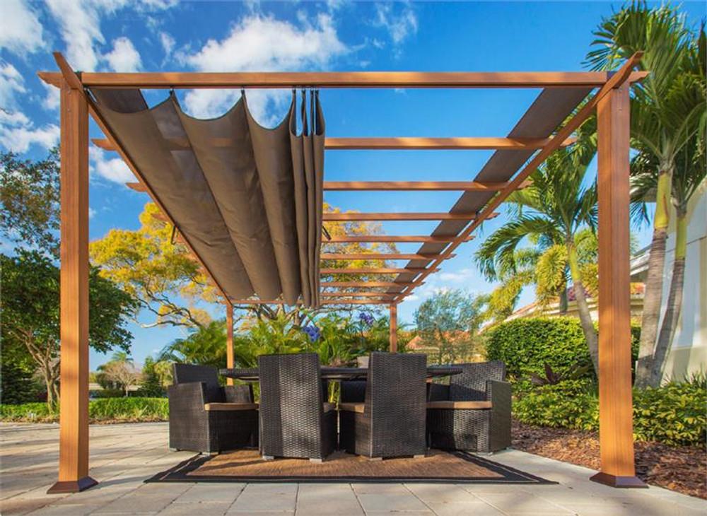 Paragon Outdoor Florence 11x16 Aluminum Pergola with Cedar Wood Grain Finish/Cocoa Color Convertible Canopy