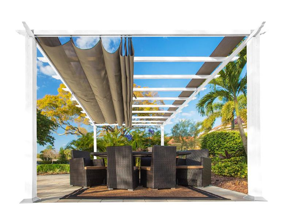 Paragon Outdoor Florence 11x16 White Aluminum Pergola/Sand Color Convertible Canopy