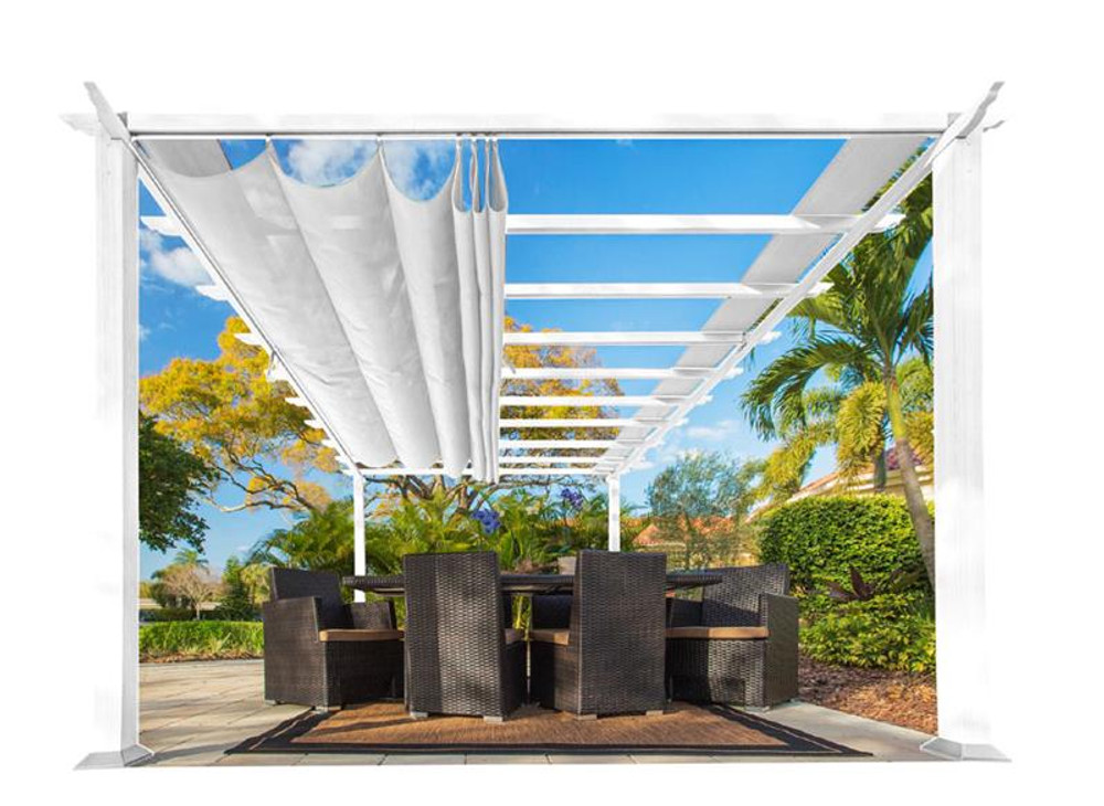 Paragon Outdoor Florence 11x16 White Aluminum Pergola/White Color Convertible Canopy