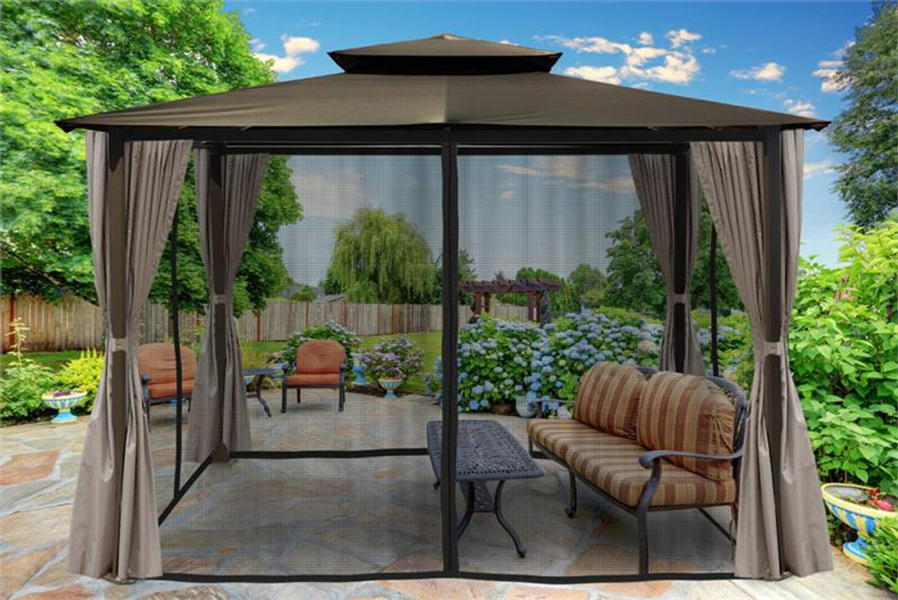 Paragon Outdoor Barcelona 10x12 Gazebo with Grey Top, Mosquito Netting, Privacy Curtains