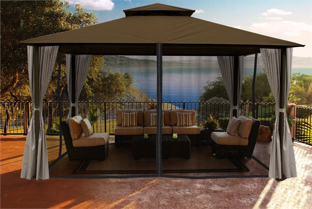 Paragon Outdoor Kingsbury 11x14 Gazebo with Cocoa Sunbrella Top, Mosquito Netting, Privacy Curtains