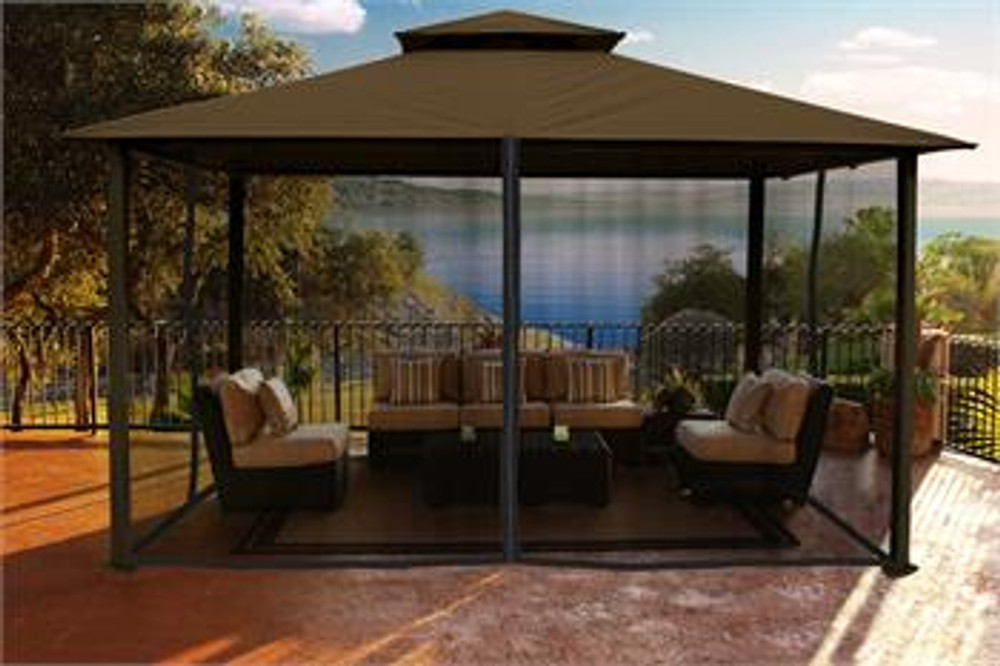 Paragon Outdoor Kingsbury 11x14 Gazebo with Cocoa Top & Mosquito Netting