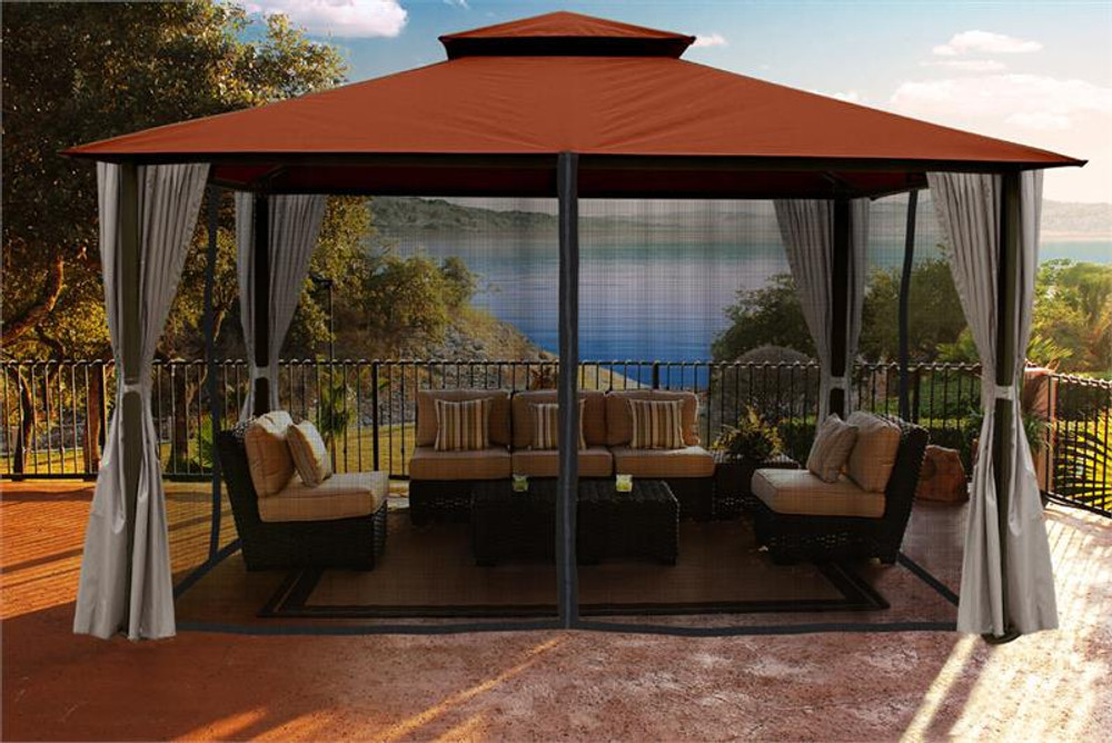 Paragon Outdoor Kingsbury 11x14 Gazebo with Rust Top, Mosquito Netting, Privacy Curtains