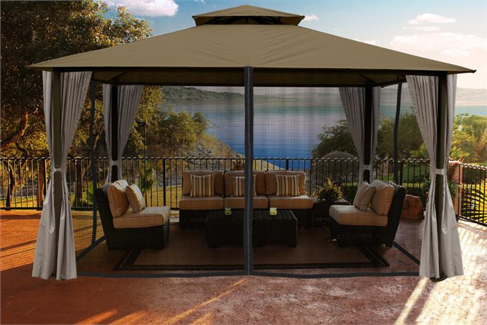 Paragon Outdoor Kingsbury 11x14 Gazebo with Sand Top, Mosquito Netting, Privacy Curtains