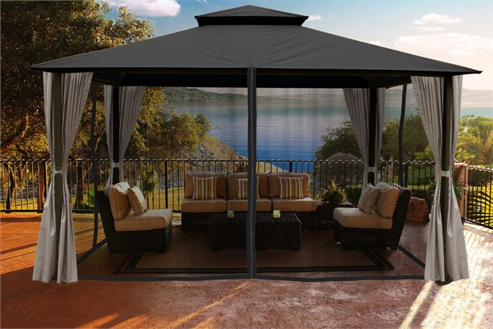 Paragon Outdoor Kingsbury 11x14 Gazebo with Grey Top, Mosquito Netting, Privacy Curtains