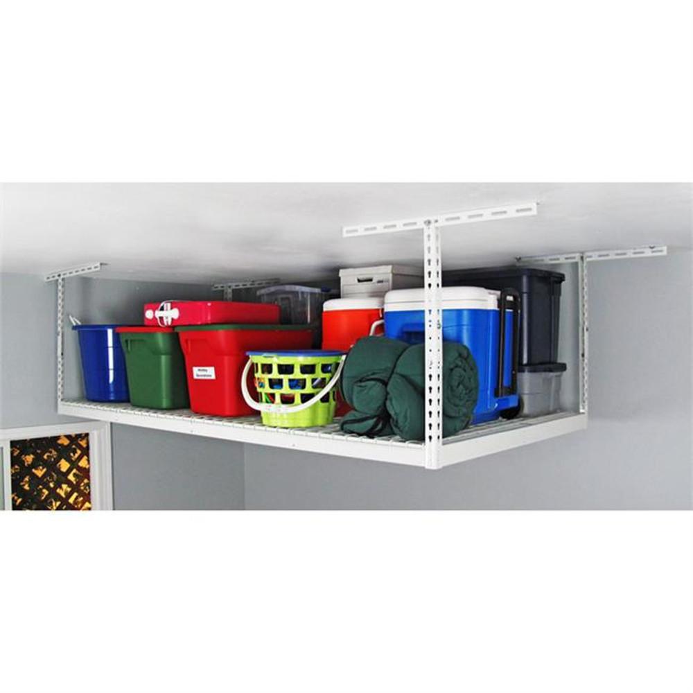 "SafeRacks 4' x 8' Overhead Storage Rack 12""- 21"" Drop - White"