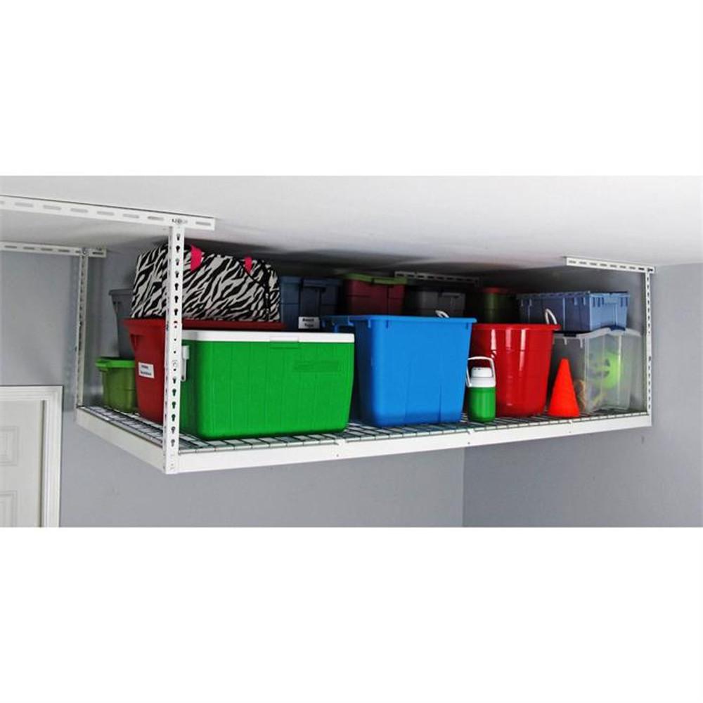 "MonsterRax 4' x 8' Overhead Storage Rack 12"" - 21"" Drop - White"