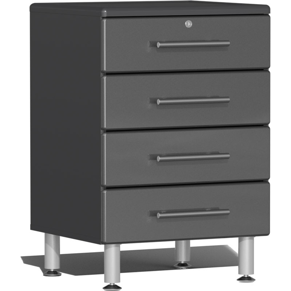 Ulti-MATE Garage 2.0 Series Grey Metallic 4-Drawer Base Cabinet