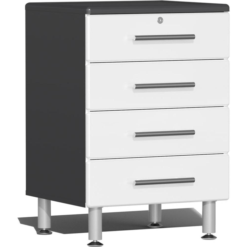 Ulti-MATE Garage 2.0 Series White Metallic 4-Drawer Base Cabinet