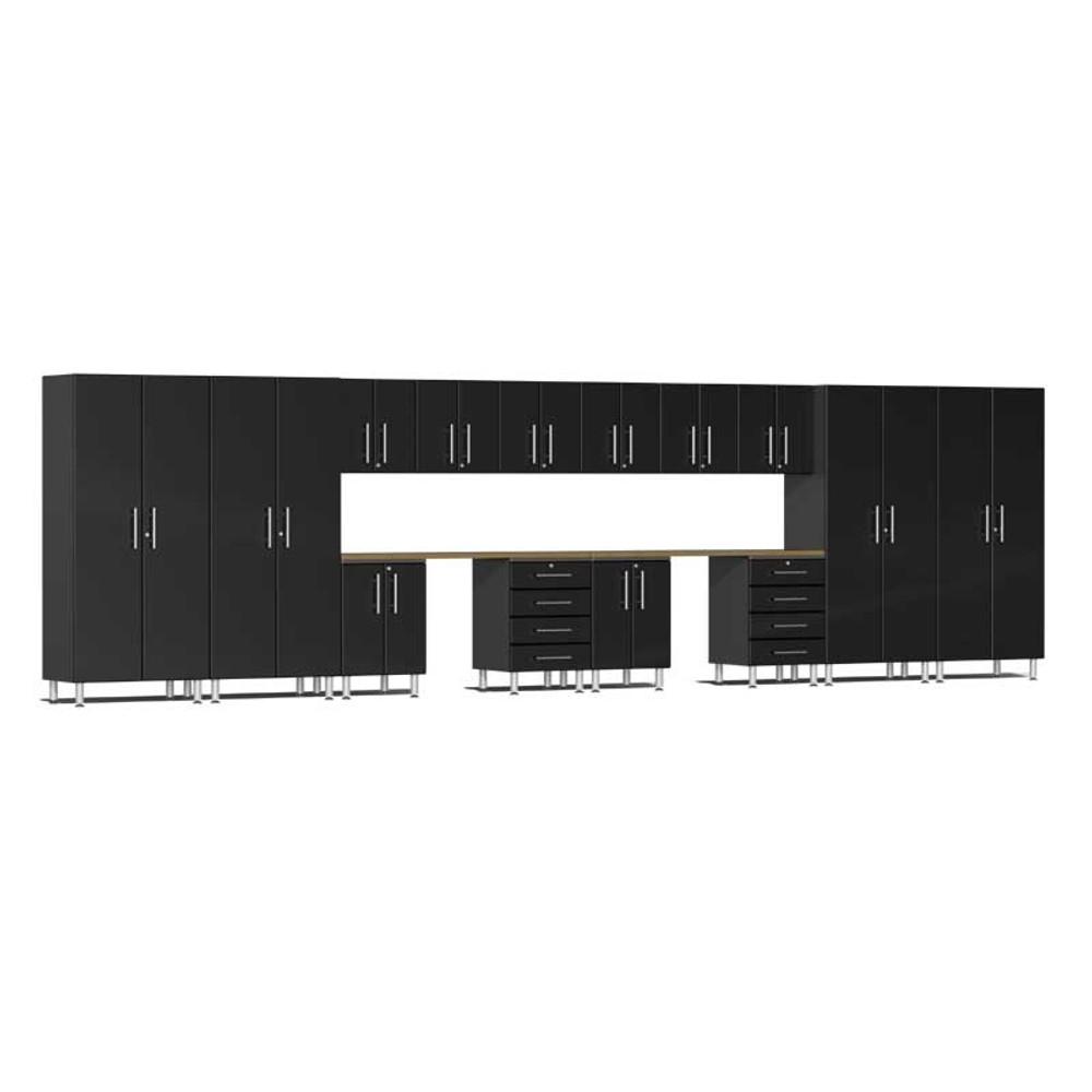 Ulti-MATE Garage 2.0 Series Black Metallic 16-Piece Kit with Dual Workstation