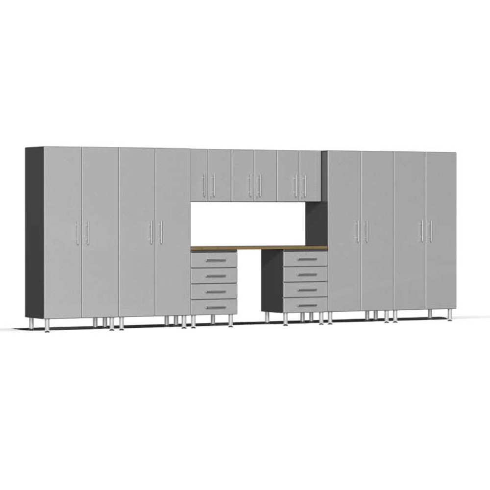 Ulti-MATE Garage 2.0 Series Silver Metallic 10-Piece Kit with Bamboo Worktop