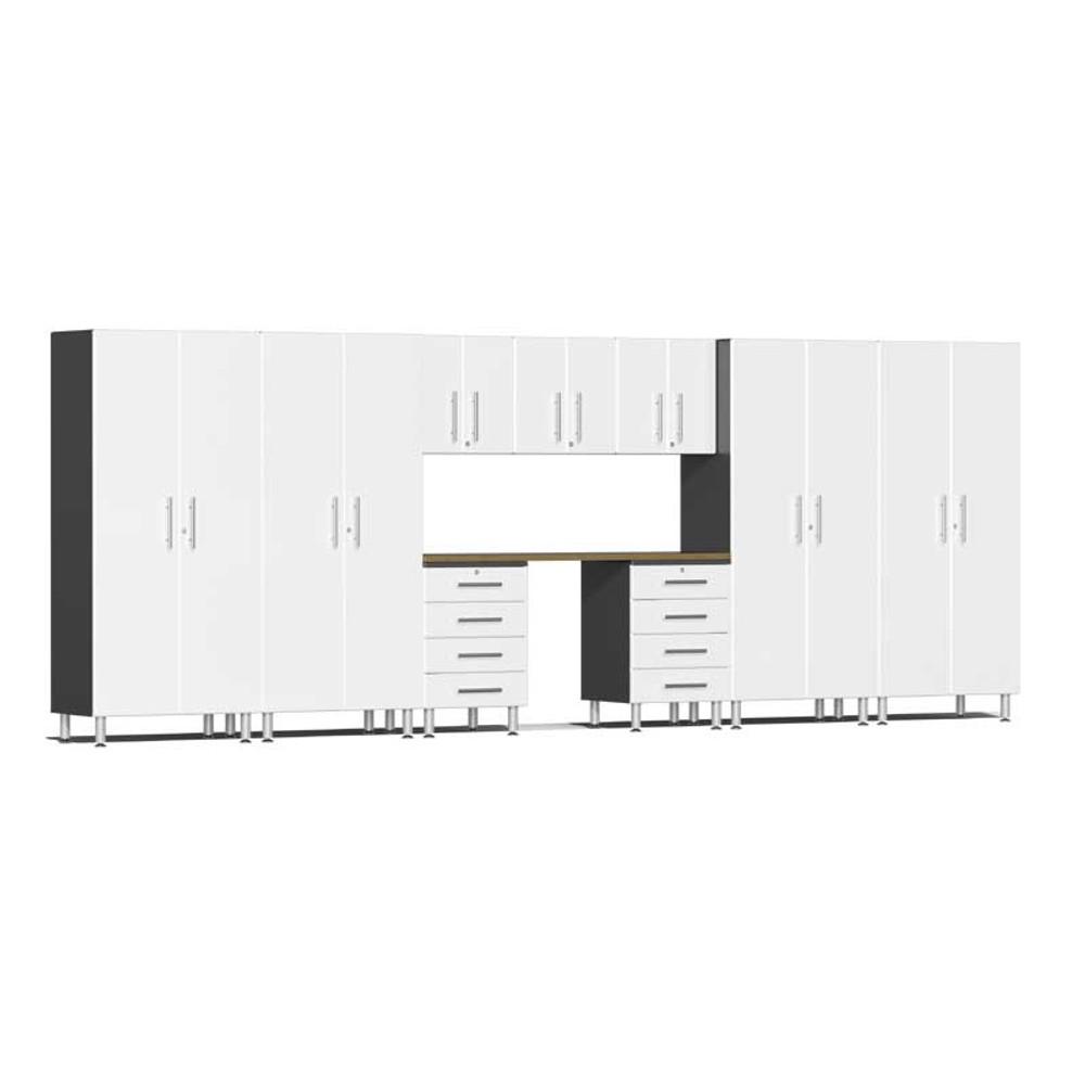 Ulti-MATE Garage 2.0 Series White Metallic 10-Piece Kit with Bamboo Worktop
