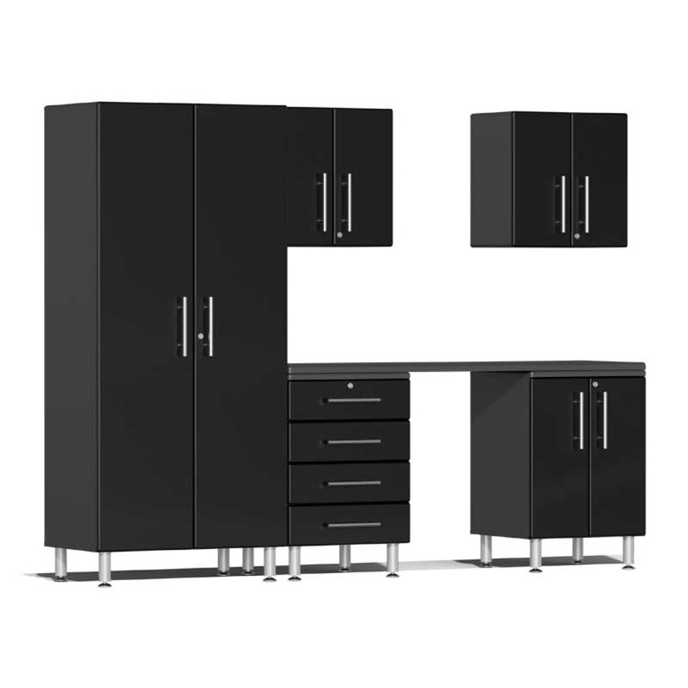 Ulti-MATE Garage 2.0 Series Black Metallic 6-Piece Kit with Workstation
