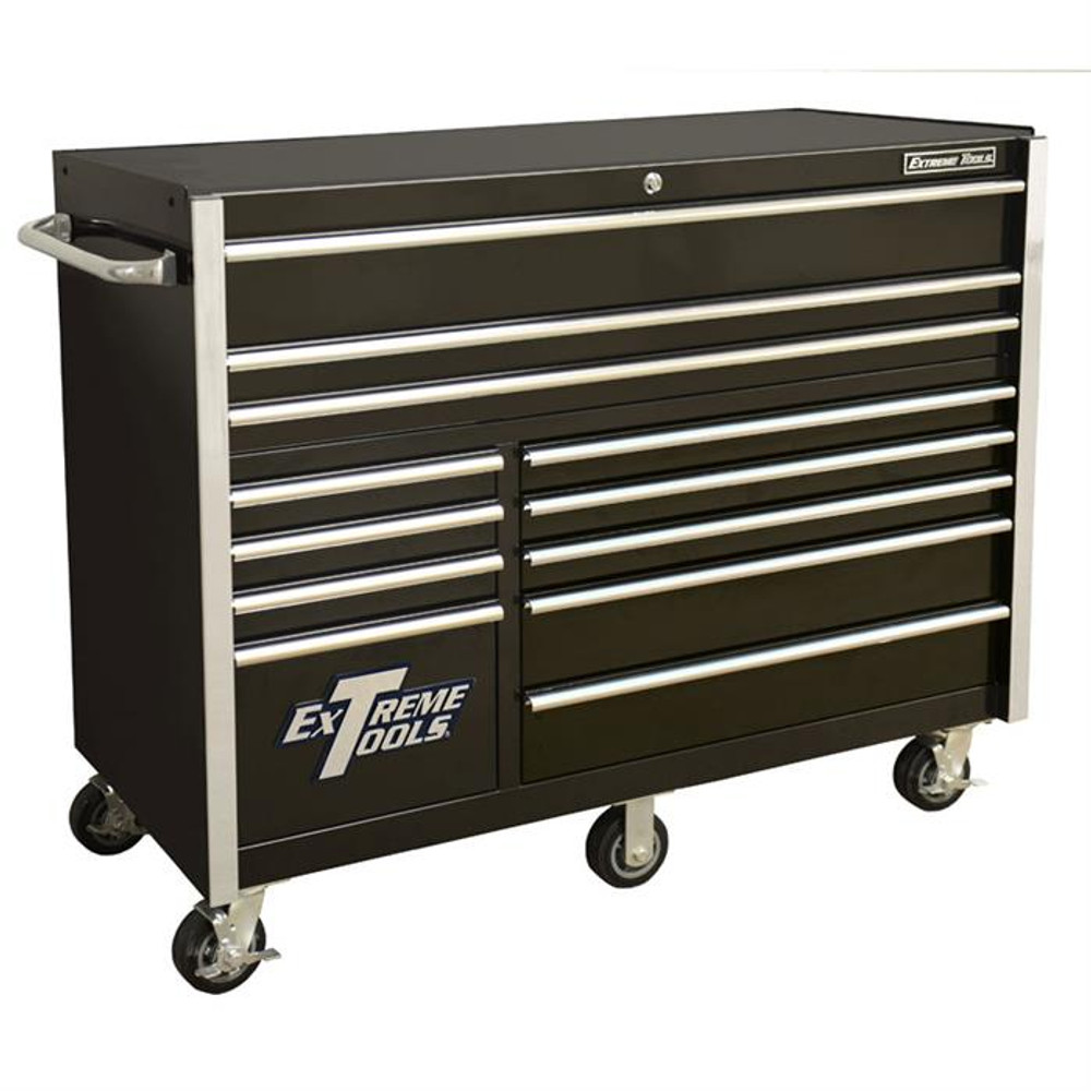 """Extreme Tools RX Series 55"""" 12-Drawer Roller Cabinet - Black"""