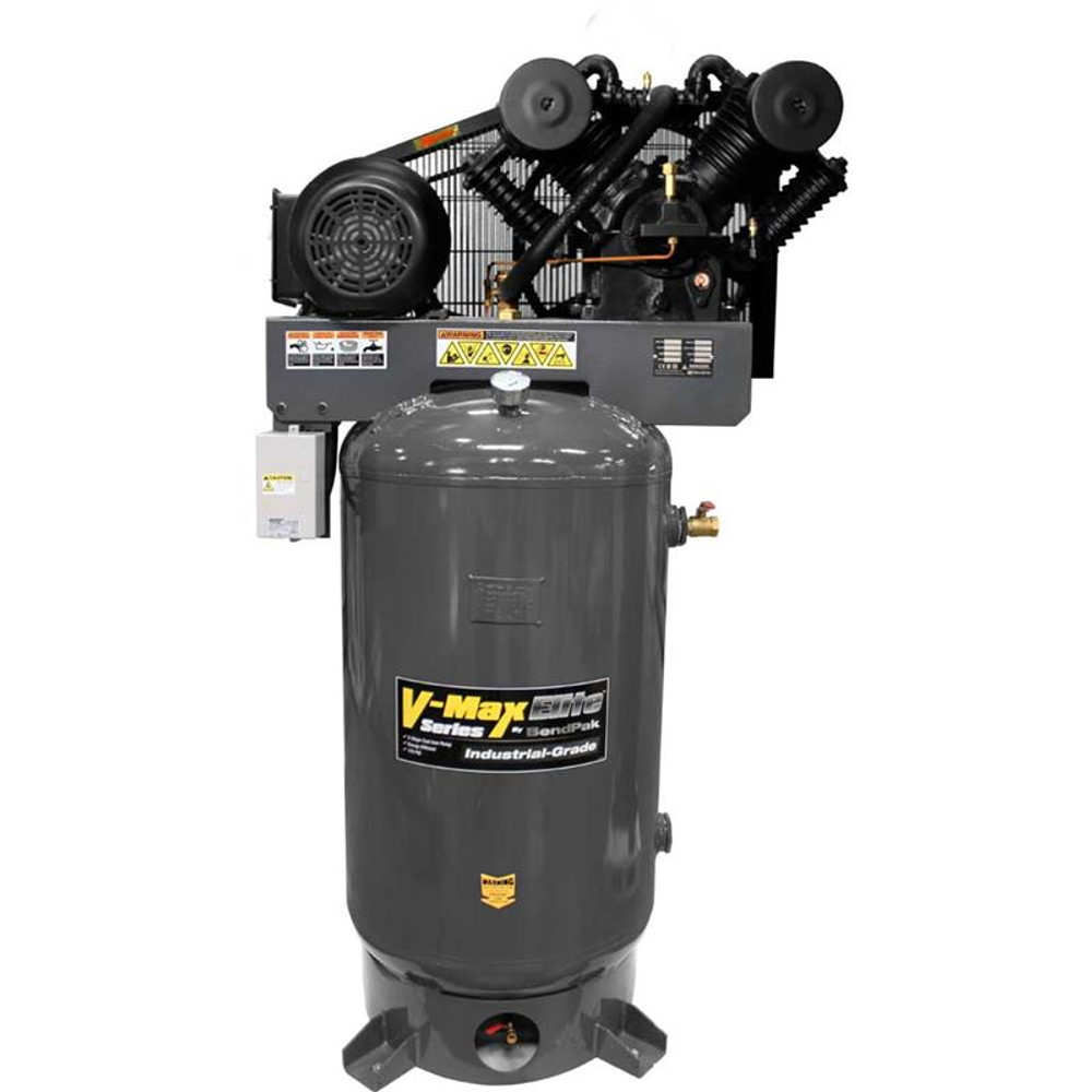 BendPak VMX-7580V-601 V-MAX Elite Air Compressor, 7.5 HP, 80Gallon Vertical Tank, 1 Phase