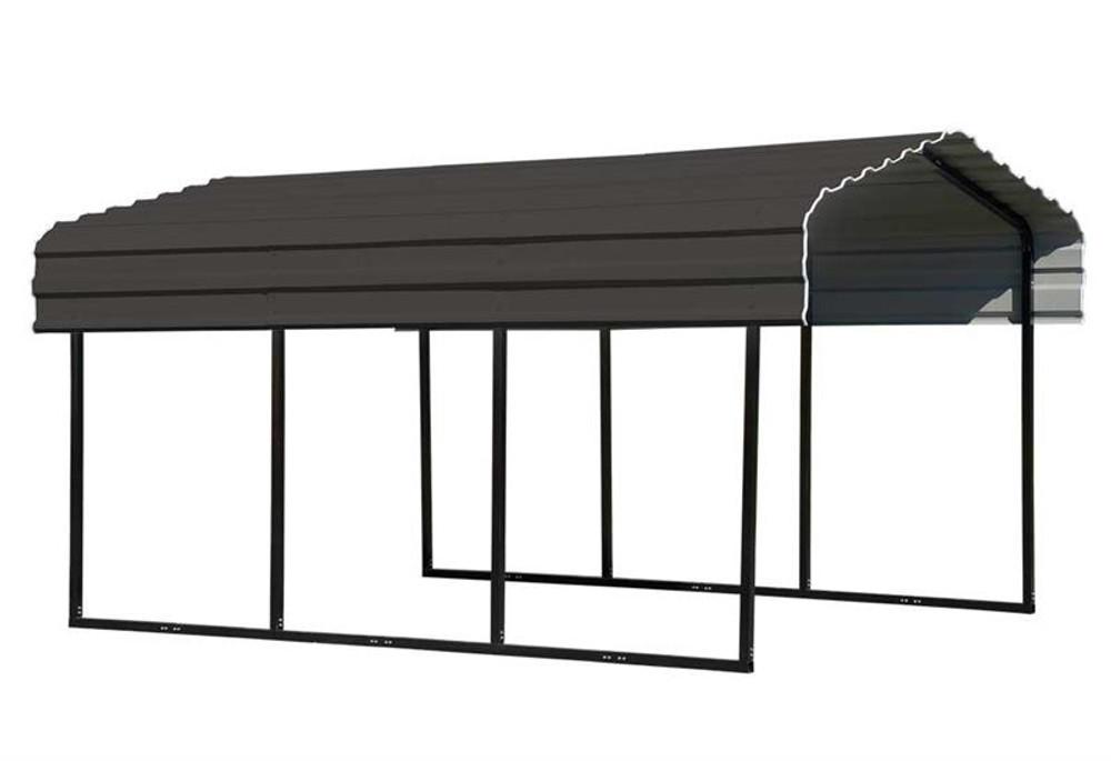 Arrow Steel Carport 10 x 15 x 7 ft. Galvanized Charcoal