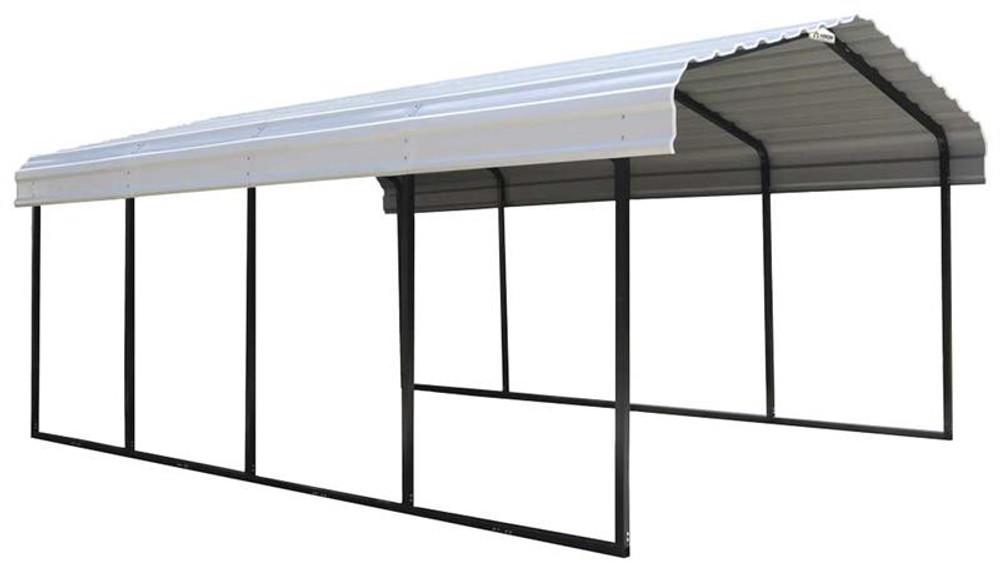 Arrow Steel Carport 12 x 20 x 7 ft. Galvanized Eggshell