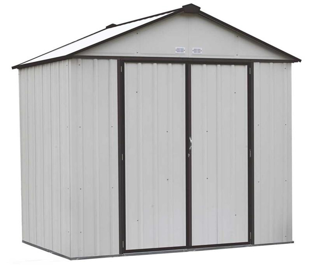 Arrow EZEE Shed Steel Storage 8 x 7 ft. Galvanized High Gable Cream with Charcoal Trim