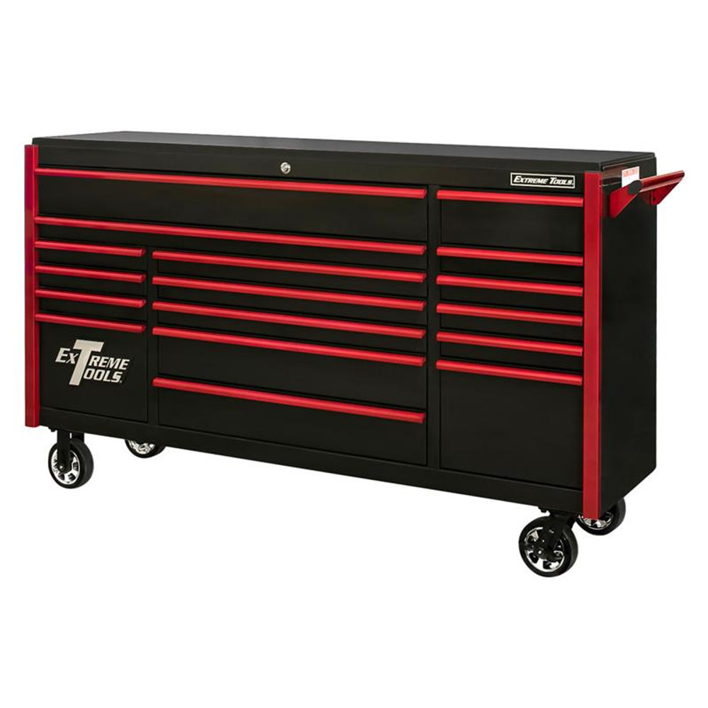 "Extreme Tools 72"" DX Series 17-Drawer Roller Cabinet - Black w/Red Drawer Pulls"