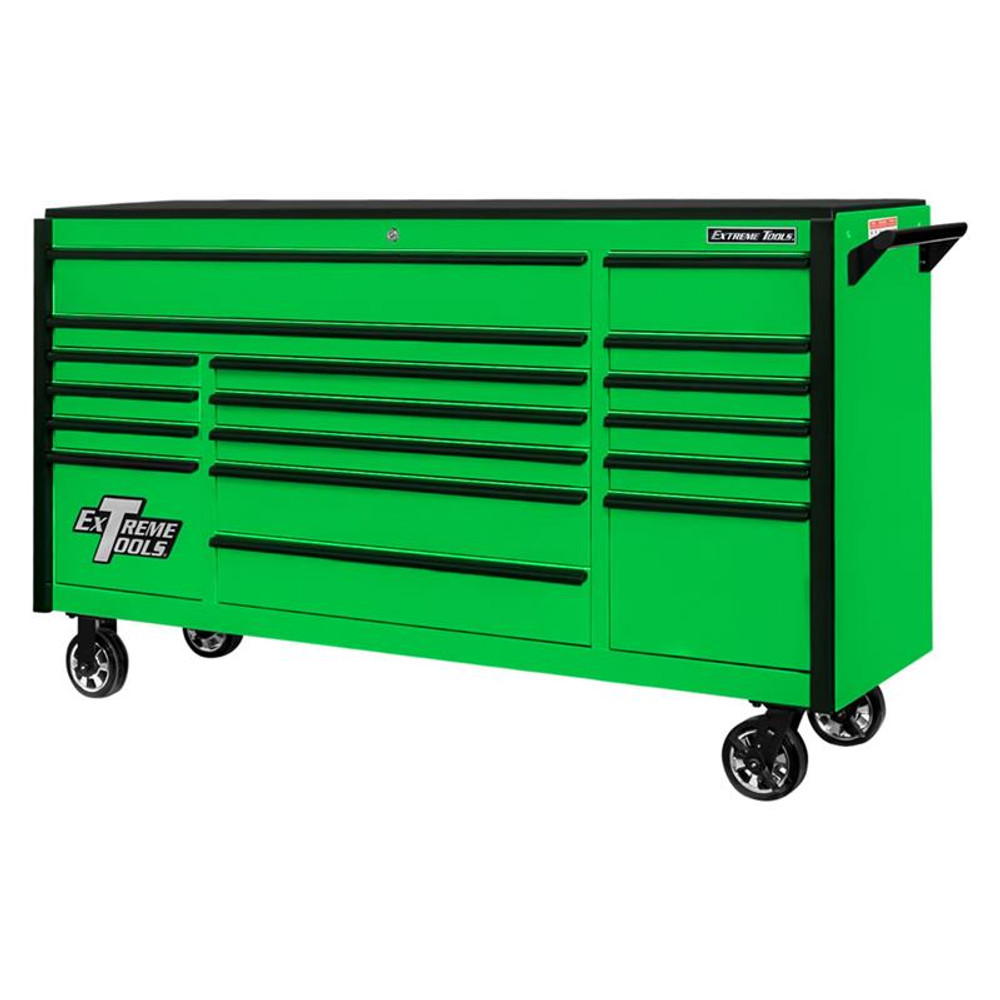 """Extreme Tools 72"""" DX Series 17-Drawer Roller Cabinet - Green w/Black Drawer Pulls"""