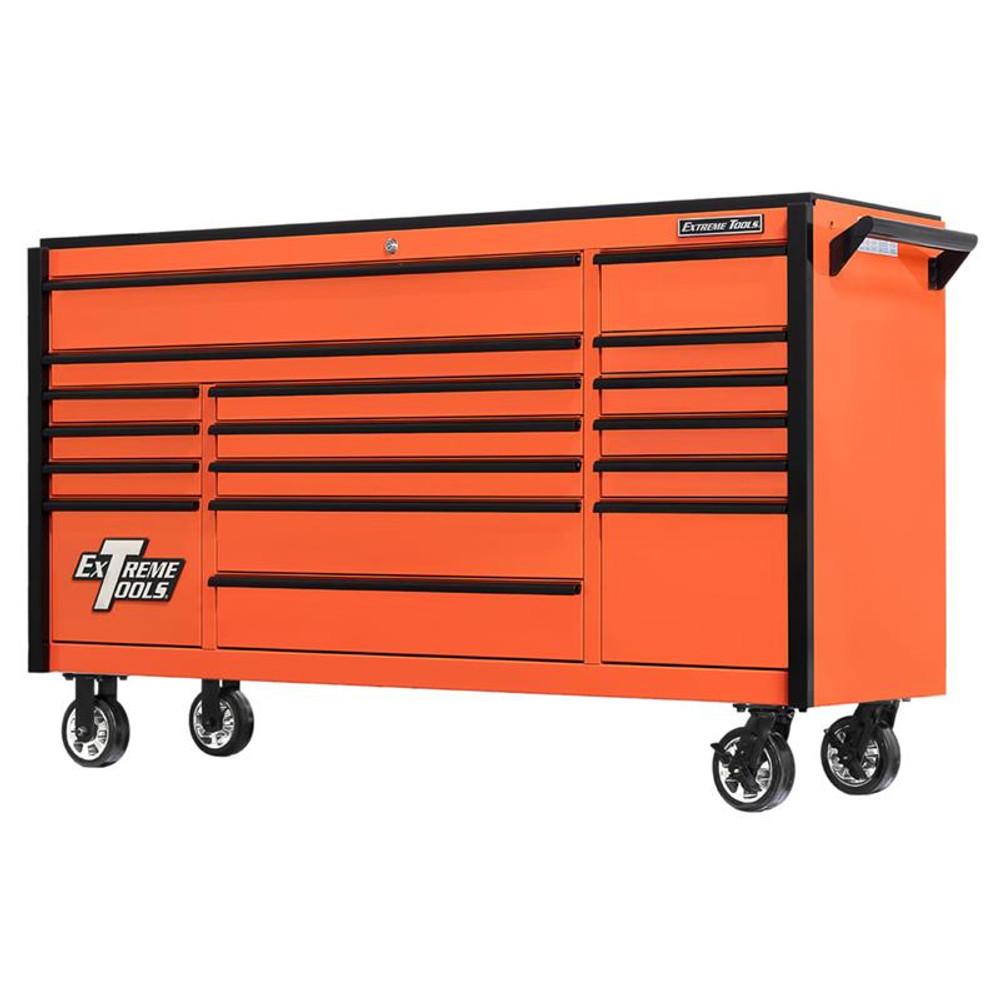 "Extreme Tools 72"" DX Series 17-Drawer Roller Cabinet - Orange w/Black Drawer Pulls"
