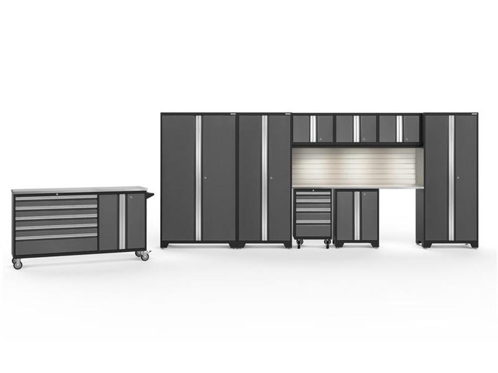 NewAge Bold 3.0 Grey 10 PC Set w/Stainless Steel Worktops, LED Lights & Backsplash