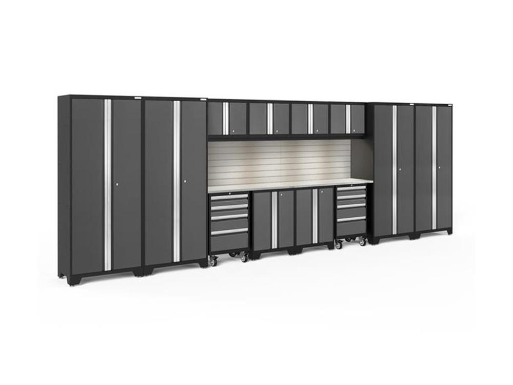 NewAge Bold 3.0 Grey 14 Piece Set with Stainless Steel Worktop, LED Lights & Backsplash