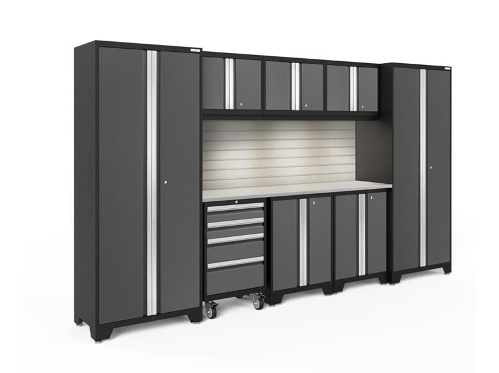 NewAge Bold 3.0 Grey 9 Piece Set with Stainless Steel Worktop, LED Lights & Backsplash