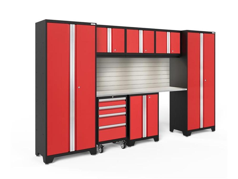 NewAge Bold 3.0 Red 8 Piece Set w/Stainless Steel Worktop, LED Lights & Backsplash