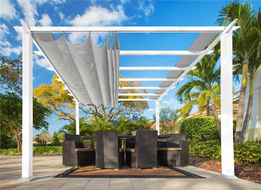 Paragon Outdoor Florence 11x11 White Aluminum Pergola/Silver Color Convertible Canopy